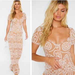 NEW Nude Belted Wide Leg Embroidered Jumpsuit